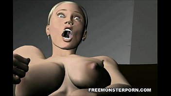 Short haired 3D cartoon babe plays with her pussy