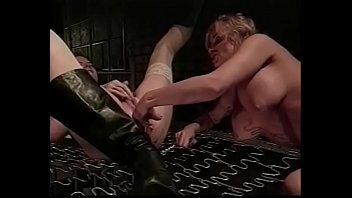 Sexy MILF leasbian in white stockings screams while her girlfriend licks and fingers her twat