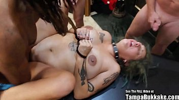 Tampa Bukakke | Super pregnant stoner white girl with dreads interracial gangbang fuck ft. Mary Jane