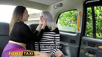 Female Fake Taxi Busty blonde licks her first pussy
