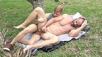 The Boy Pulls Out His Huge Cock, The Old Man Is Quick To Drop To His Knees