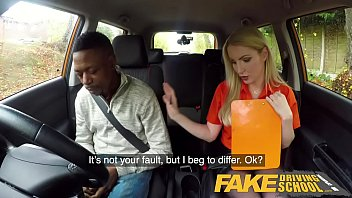 Fake Driving School Long black cock pleases busty blonde examiner