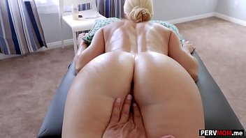 Gave my hot blonde MILF stepmom a massage and a fuck