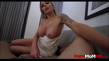 d. Big Tits Blonde MILF Step Mom Blowjob For Step Son While Mad At His Dad POV