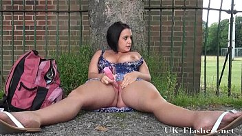 Outdoor masturbation techniques - Outdoor masturbation of sexy amateur milf showing shaved pussy in public and fla