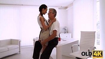 OLD4K. Beautiful brunette successfully seduced her middle-aged boss