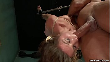 Slut mouth banged in ankle suspension