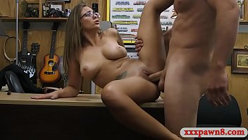 Sexy amateur brunette with glasses pounded by pawn guy