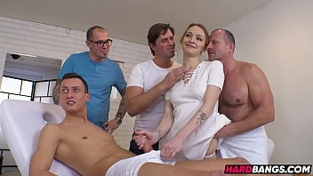 All Holes Penetrated at Once! Amateur Masseuse European Fucked Hard in a hot GangBang