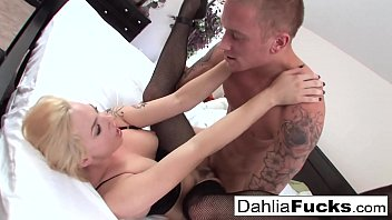 Hard sex on a big bed with Dahlia Sky and Richie Black
