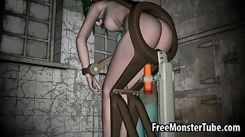 Green Haired 3D Babe Getting Fucked By A Machine