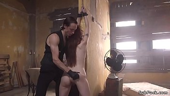 Redhead Sub Gagged And Anal Fucked