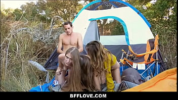 Teen travel summer camp - Three hot young teen best friends fucked by camp counselor while on camping trip