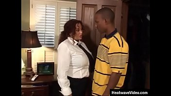 Chubby mom does not seem to be very surprised at finding black boy in her closet