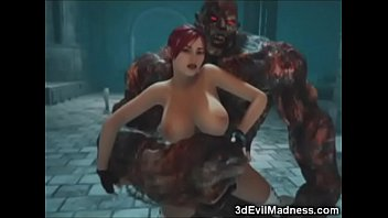 3D Busty Girl Ruined by Giant Monster