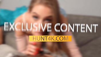 HUNT4K. Curvy chick with juicy tits has sex with stranger in front of BF