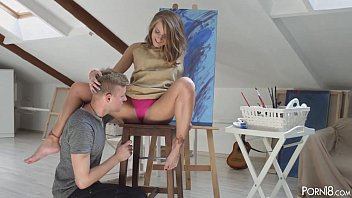 Lovely blond muse Sofi anally fucked by an artist