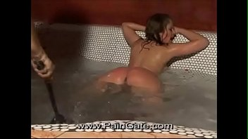Whipped in the hot tub - lazy serving girl cruelly lashed for bathing in the Mistress's pool