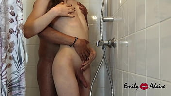 Young skinny trans* girl Emily Adaire sucks and is being fucked in the shower - Trailer