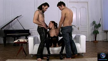 Delicious Marina first time threesome