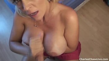 Big Boobed Cougar Charlee Chase Blows And Milks Hubby's Throbbing Cock