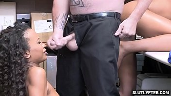The LP Officer feasting on two black pussies riding his white cock!