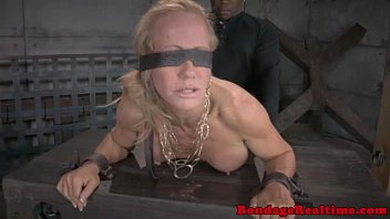 Blindfolded submissive spitroasted