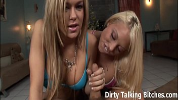 POV double blowjob from two hot blondes thumbnail