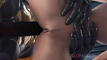 Mars base camp. Super hot sexy girl has hard anal sex with alien monster
