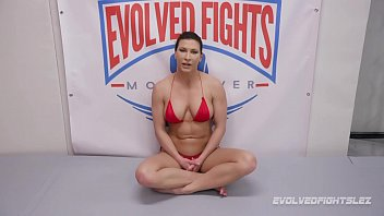 Girl on girl sex wrestling as Ariel X fucks Bella Rossi hard and roughly