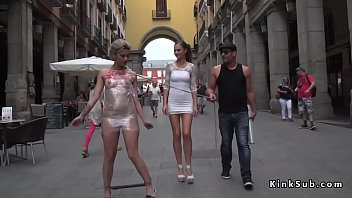 Naked slave wrapped in foil in public