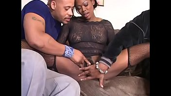 Ebony whore gets both her holes filled with black cock at same time in threesome