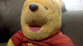 tiger fucking pooh teddy bear on the couch of his house with lots of delicious porno love