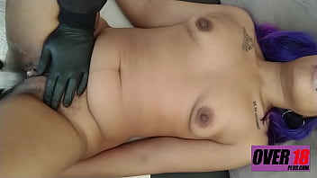 ForcedOrgasm: Big Clit Slut With Purple Hair Has Multiple Orgasms During Vaginal Examination.