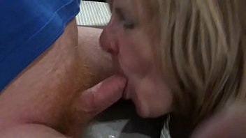 English busty MILF takes a full mouthfull of cock and CUM
