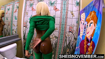 4k I'm Undressing To Clean A Cumshot Off My Filthy Ass Cheeks & Wash My Dirty Body In The Shower, Msnovember Cleaning Her Filthy Large Saggy Breasts And Bare Ebony Pussy UHD On Sheisnovember