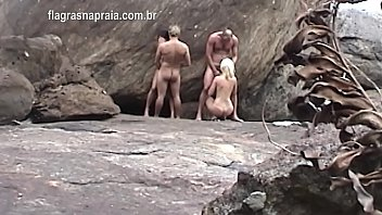 German tourist films naked swinging couples having sex and changing wives on the beachside in Buzios - Brazil