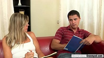 Sexy Teacher Samantha tries to teach something to this Young Bloke