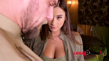 Hardcore soldier Liya Silver rides hard cock with her shaved pussy GP818