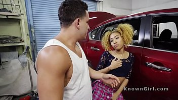 Ebony girlfriend cheating in car shop