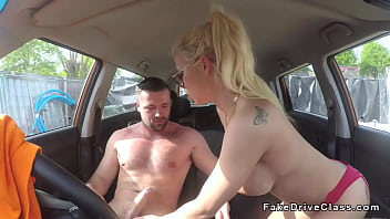 Adult class driving Blonde deep throats in driving school in public