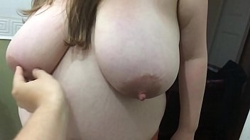 wife getting ready in morning showing off her big natural 42f tits