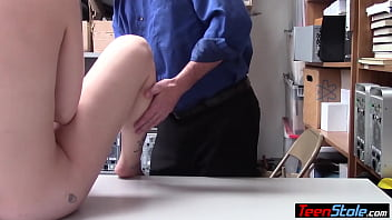 Reluctant blondie punish fucked on CCTV by a dirty cop
