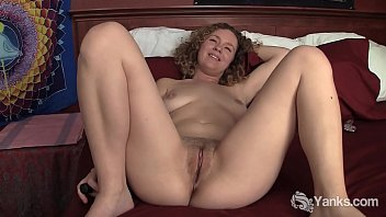 Curvy bodied amateur babe from Yanks Ruby Wood masturbating with her two toys