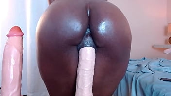 Thicc Ebony Pussy Grips onto Huge Dildo
