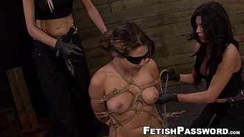 Teen Asian Mena Li bound for lesbian domination with toys