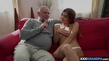 Teen tries to avoid school on her grandpas hard cock