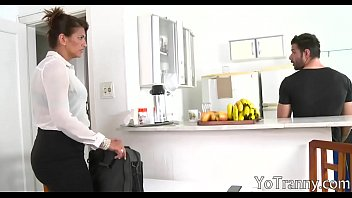 Laura lion shemale Booby shemale maid gets her anal railed