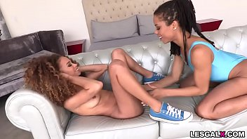 Watch these sexy teen ebony lesbians Kira Noir and Cecilia Lion show off their lesbian skills by playing their pussies and asses. 6 min