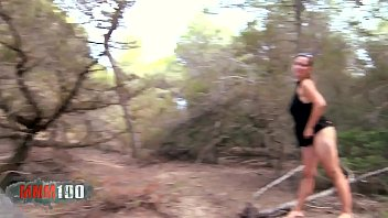 Cute young french girl with amazing huge natural boobs fucked in the woods thumbnail